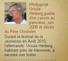 Medjugorje juin 2009 Ursula Herberg,guérie d'un cancer au pancréas,  et décès du Père Chisholm