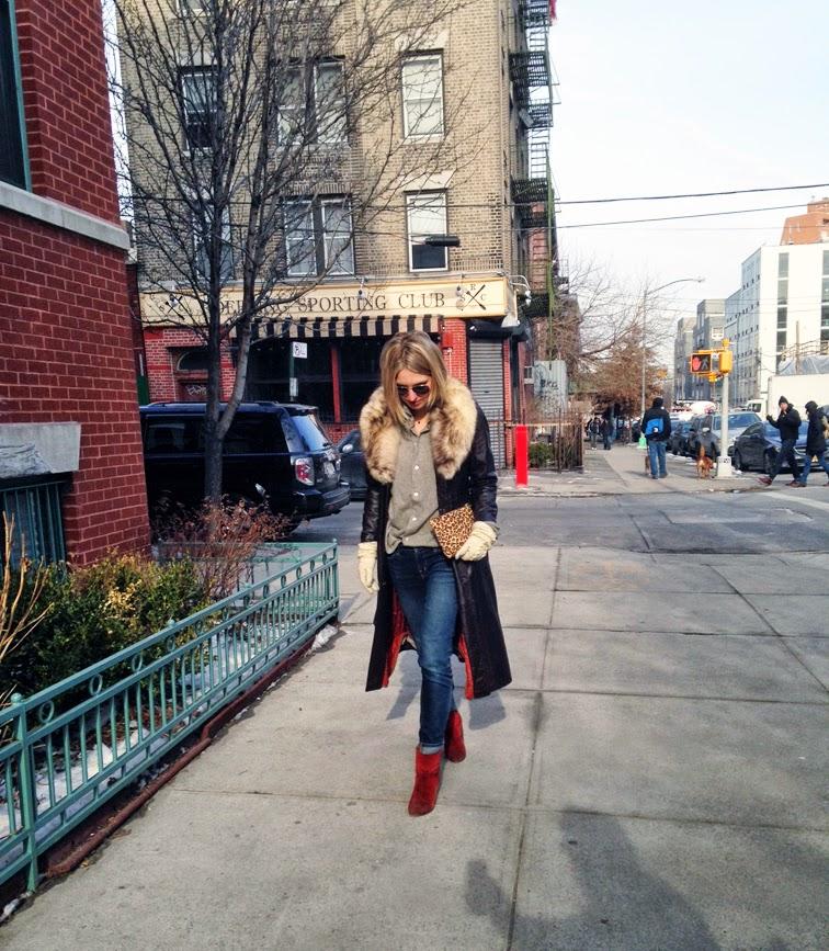 Brown leather belted trench coat, J Brand dark skinny cuffed jeans, Rag & Bone Newbury boots, Brooklyn nyc