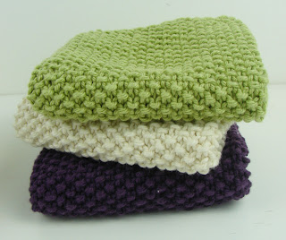 knit washcloth seed stitch purple green white