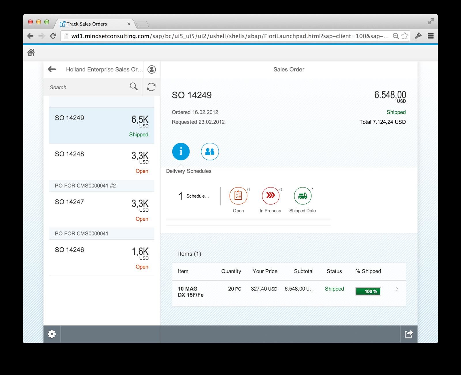 SAP Fiori Track Sales Order