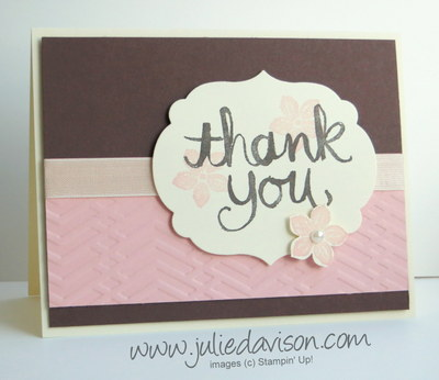 Stampin' Up! Watercolor Thank You + Petite Petals Card for AW35: Around the World Color Challenge #stampinup www.juliedavison.com