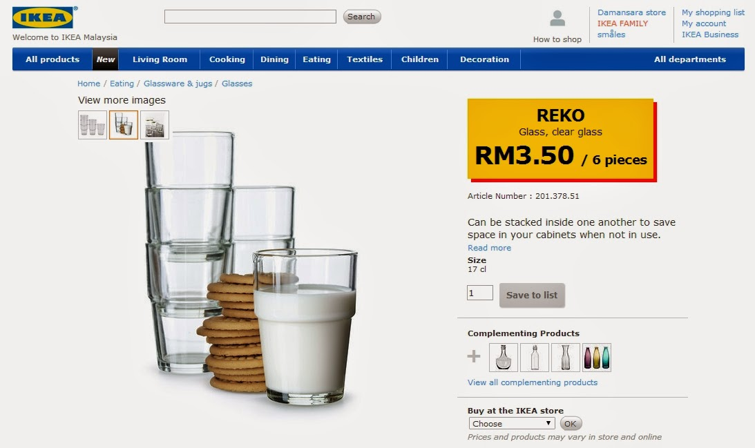 IKEA Reko Clear Glass RM3.50 for 6 pieces..