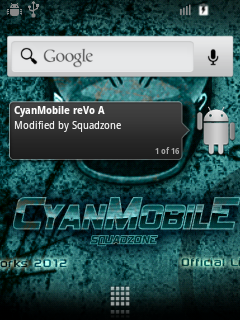 CyanMobile reVo A HomeScreen On Galaxy Mini GT-S5570 smartphone.