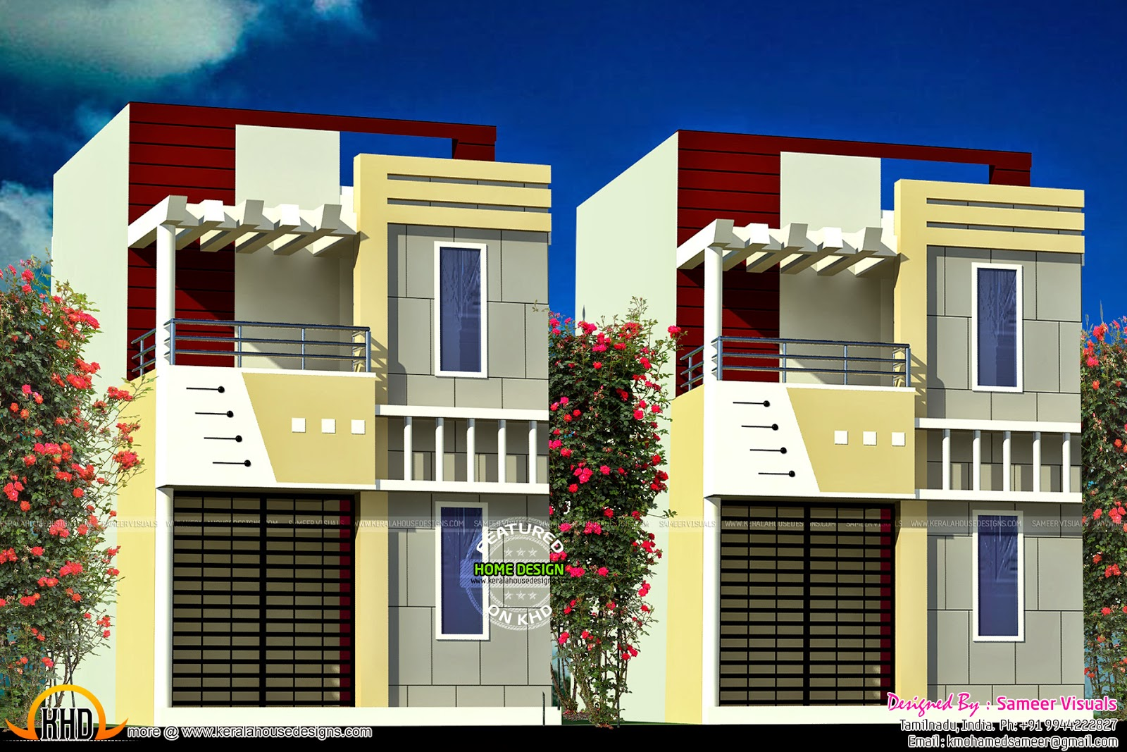 Kerala home design and floor plans row house design for Row house layout plan