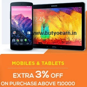 Snapdeal: Buy Mobiles & Tablets extra 3% off on Rs. 10000