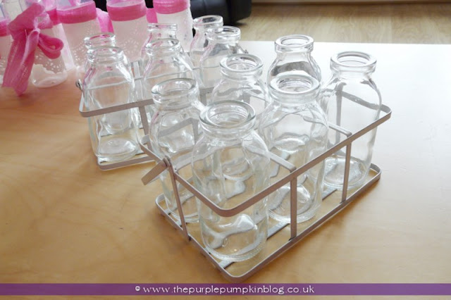 Mini Milk Bottles for a Baby Shower at The Purple Pumpkin Blog