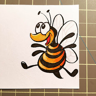 Ink and marker drawing of a very excited cartoon bee for a lunchbox note