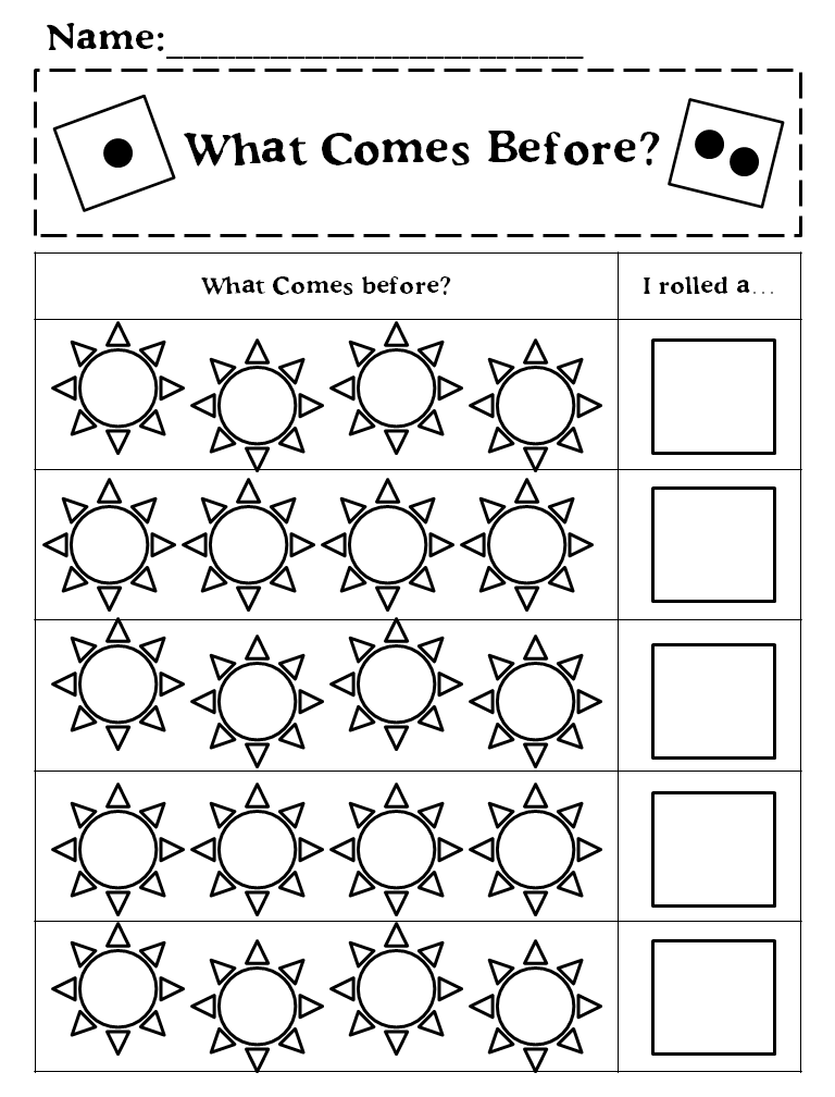 http://www.teacherspayteachers.com/Product/What-Comes-Next-Before-and-After-Spring-Dice-Game-1118406