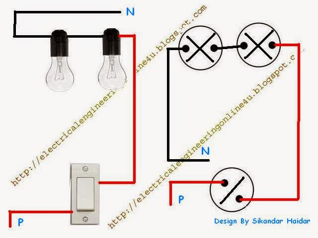Wiring a light two lights operated by one switch electrical wiring diagram for lights in series the wiring diagram wiring diagram asfbconference2016 Images