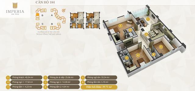 Mặt bằng căn hộ Imperia An Phú 184 m2 3 phòng ngủ
