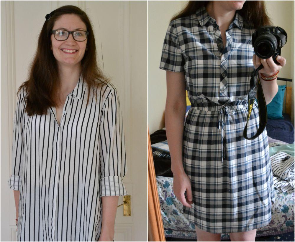 stripe shirt black white navy blue check dress M&S