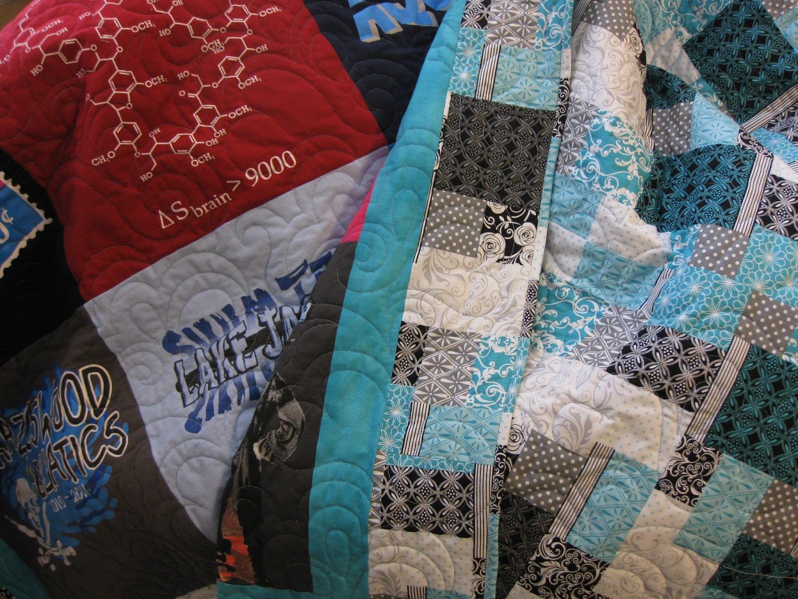 Black quilted t shirt - Rhonda S T Shirt Quilt Was Quilted With Swirls And It Is My Favorite Pattern For T Shirt Quilts