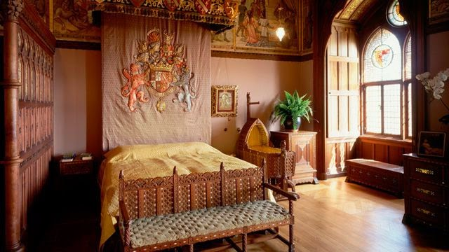Arts and crafts furniture, family bedroom in Mount Stuart House, Isle of Bute