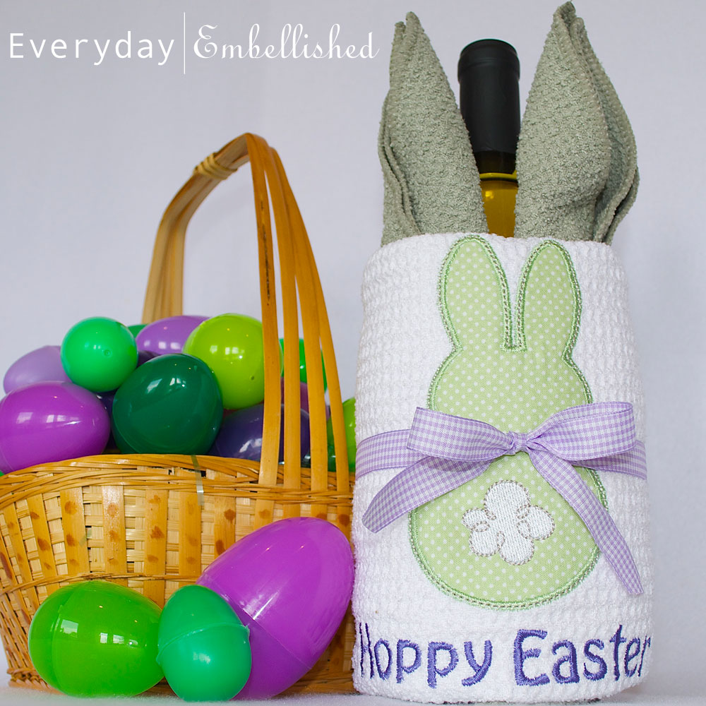 Everyday embellished blog present presentation one of our favorite hostess gifts is a bottle of wine wrapped with a microfiber towel for easter we put a bunny spin on it negle Images