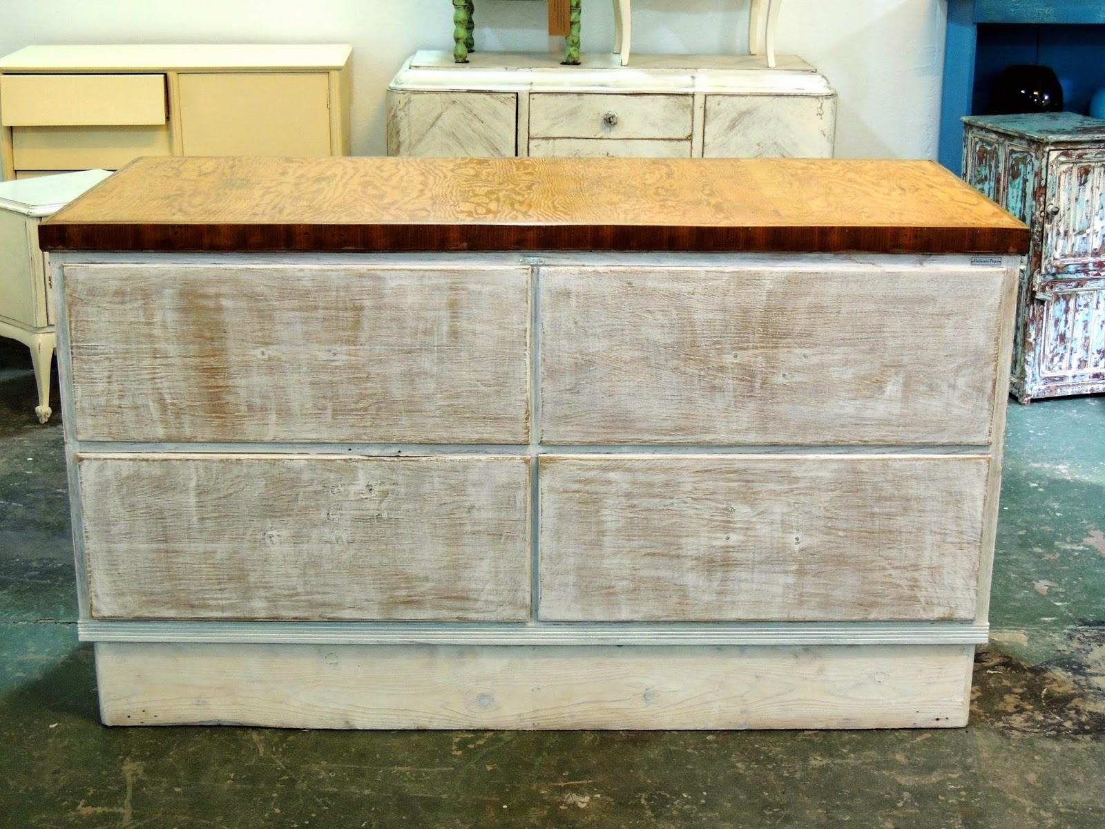 Antiguo gran mueble isla de cocina patinada en blanco con for Mueble isla de cocina
