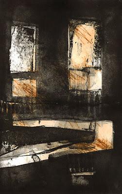 Uschi Krempel: ohne Titel, e.A.,  Farbradierung auf Kupferdruckpapier, Aquatinta und   Kaltnadel, 20,5 x 32 cm, Berlin 2013