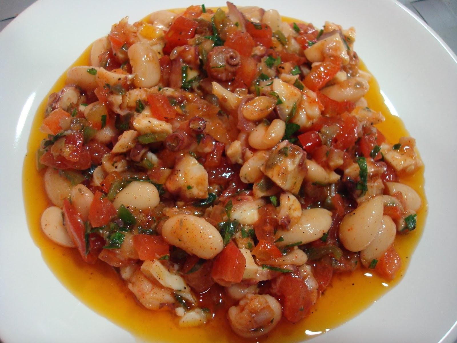 Empedrat mongetes pop salpicón marisco alubias pulpo langostinos ensalada amanida