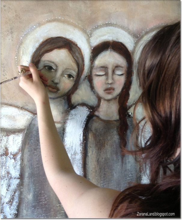 Hana painting art angels wings mixed media
