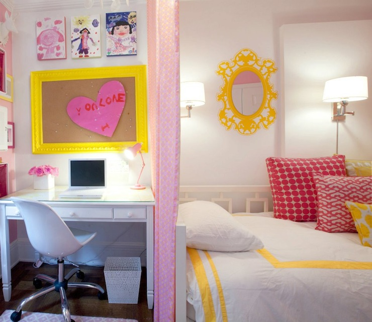 Decoração de quarto de menina pink e amarelo