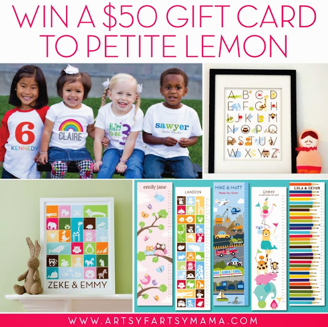 Win a $50 Petite Lemon Gift Card via artsyfartsymama.com #giveaway