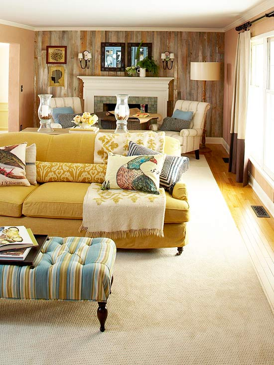 long living room with two seating areas