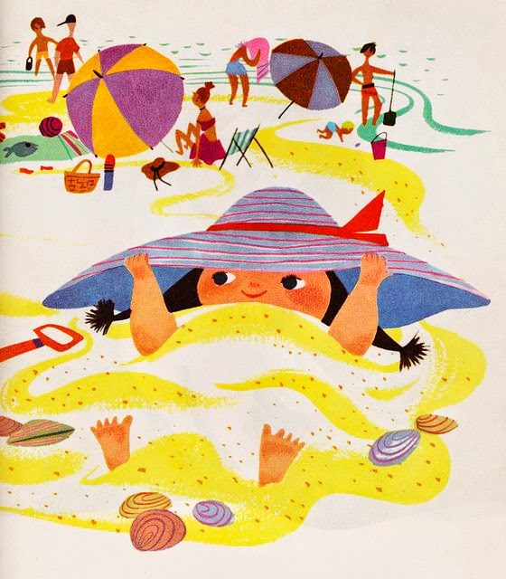 a little girl covered in sand on the beach illustration by Mary Blair