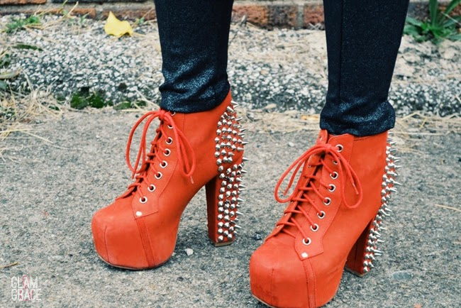 Jeffrey Campbell Litas - Red Spiked boots