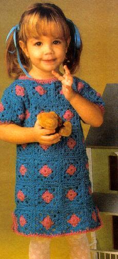 Crochet For Free: Vintage little girl Granny Dress