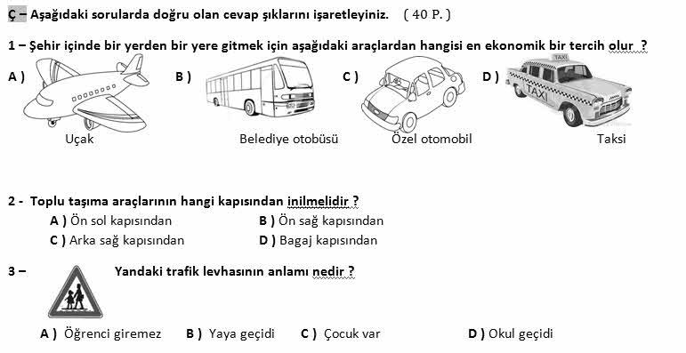 4 Sınıf Trafik Güvenliği Dersi 2 Dönem 1 Yazılı Soruları