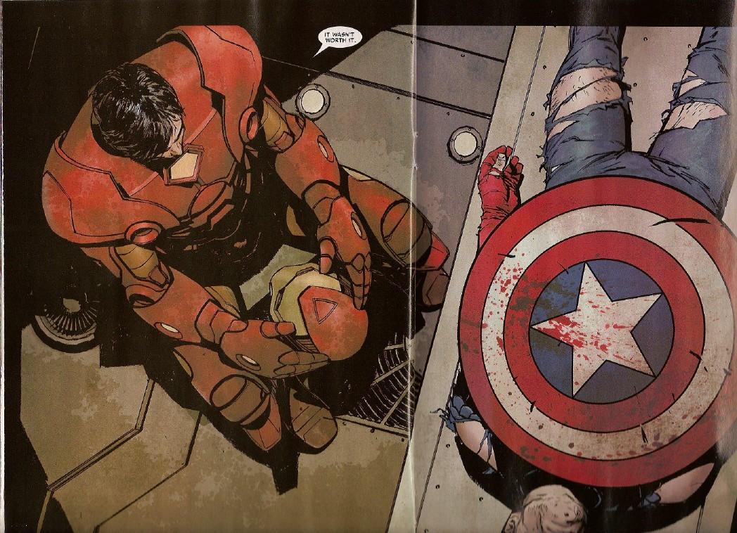 Scena del fumetto con la morte di Cap. America