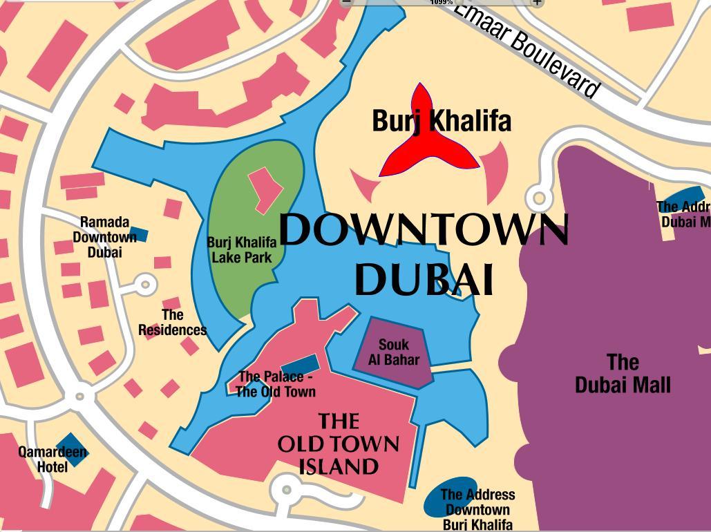 Detail Burj Khalifa Dubai Location Map – Dubai Tourist Attractions Map