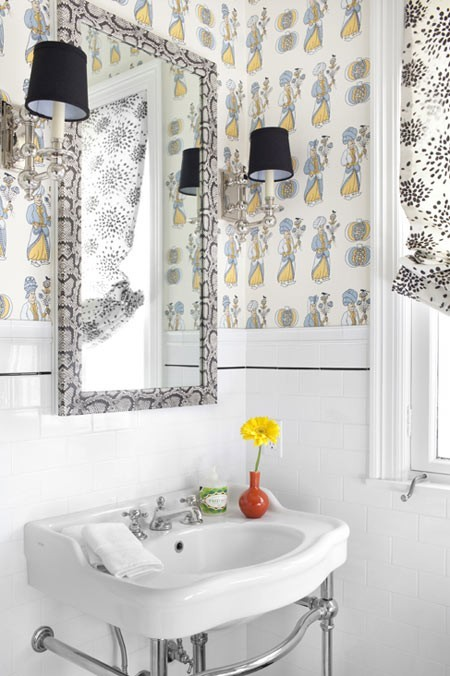 chez v wallpapered bathrooms