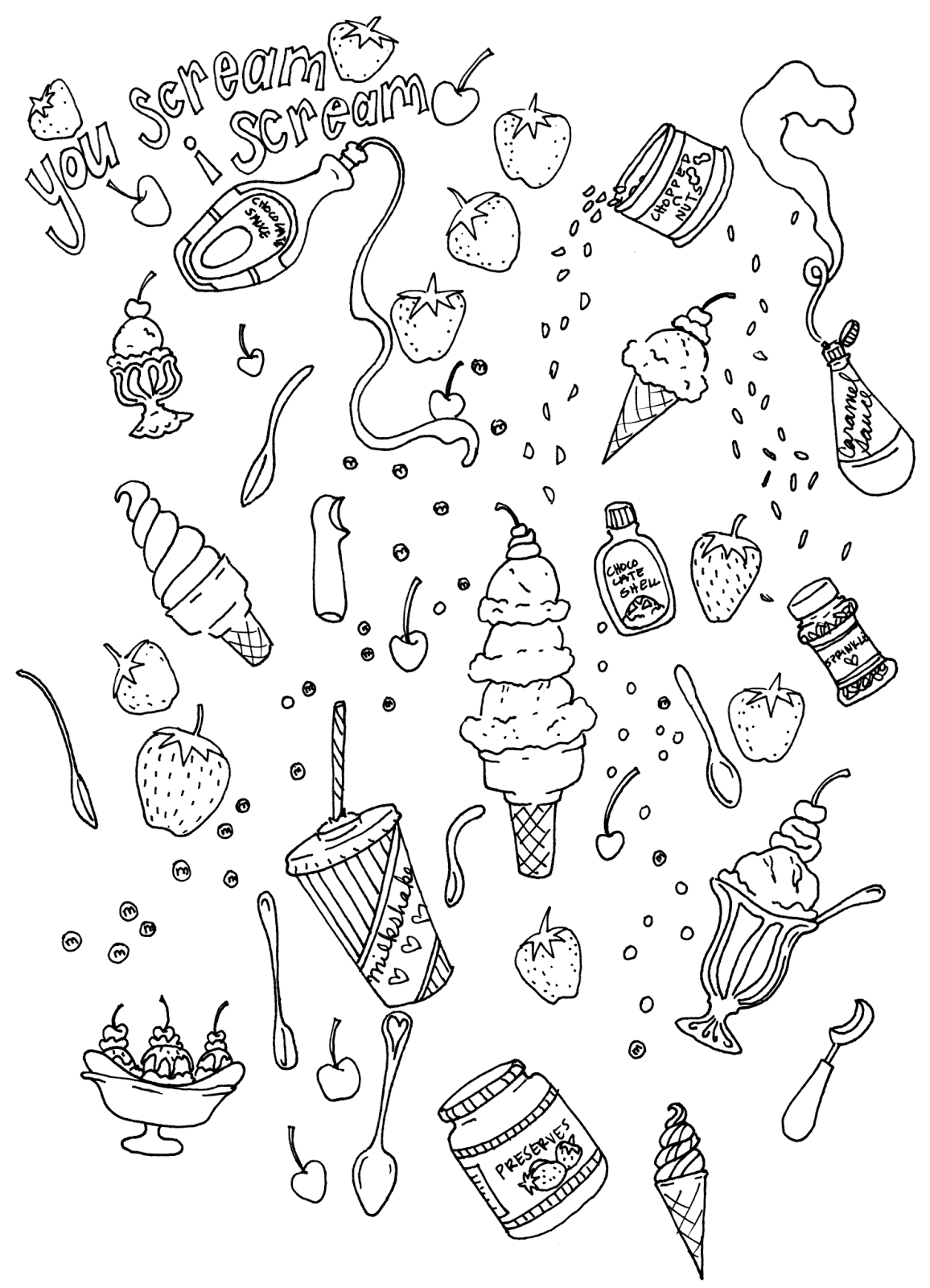 Free coloring pages ice cream sundae - Ice Cream Coloring And Some Links