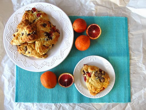 Blood Orange and Dark Chocolate Scones