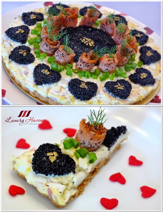 valentines day salmon caviar tart recipe love hearts