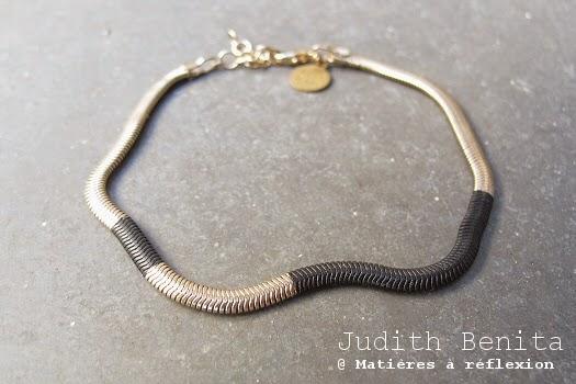 Bracelet noir et or bijoux Judith Benita Paris