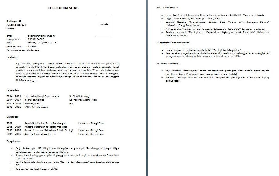 Contoh Gambar CV Curriculum Vitae yang baik dan benar