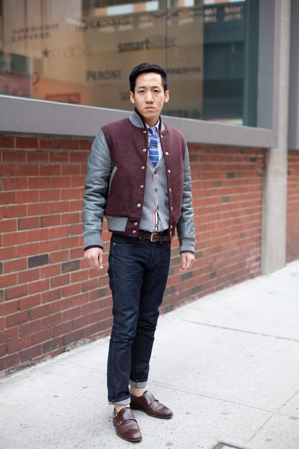varsity jacket, jeans, rolled up jeans, preppy fashion, brown double monkstrap shoes, blue tiebar tie, knit tie, new york mens street style fashion angels point of view