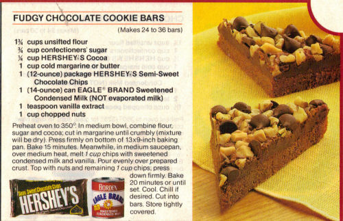 Dying for Chocolate FUDGY CHOCOLATE COOKIE BARS Retro Ad