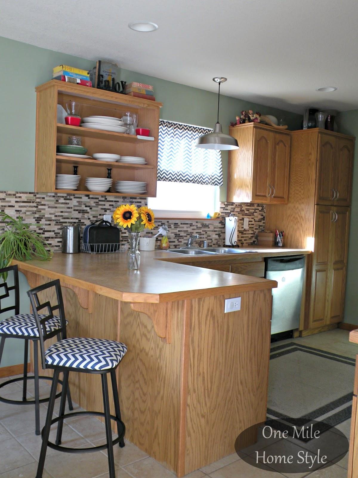 Kitchen Mini-Makeover - Tile backsplash and warehouse pendant, chevron barstools and curtain
