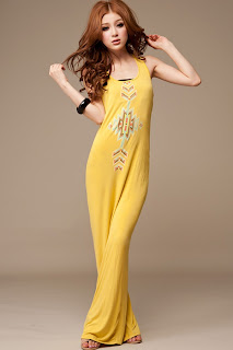 yellow Long Maxi dresses 2013