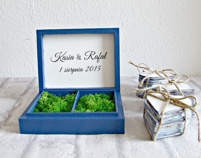 ślubne pudełko pudełeczko skrzyneczka na obrączki w stylu marynarskim Eco Manufaktura