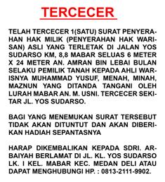 TERCECER / HILANG
