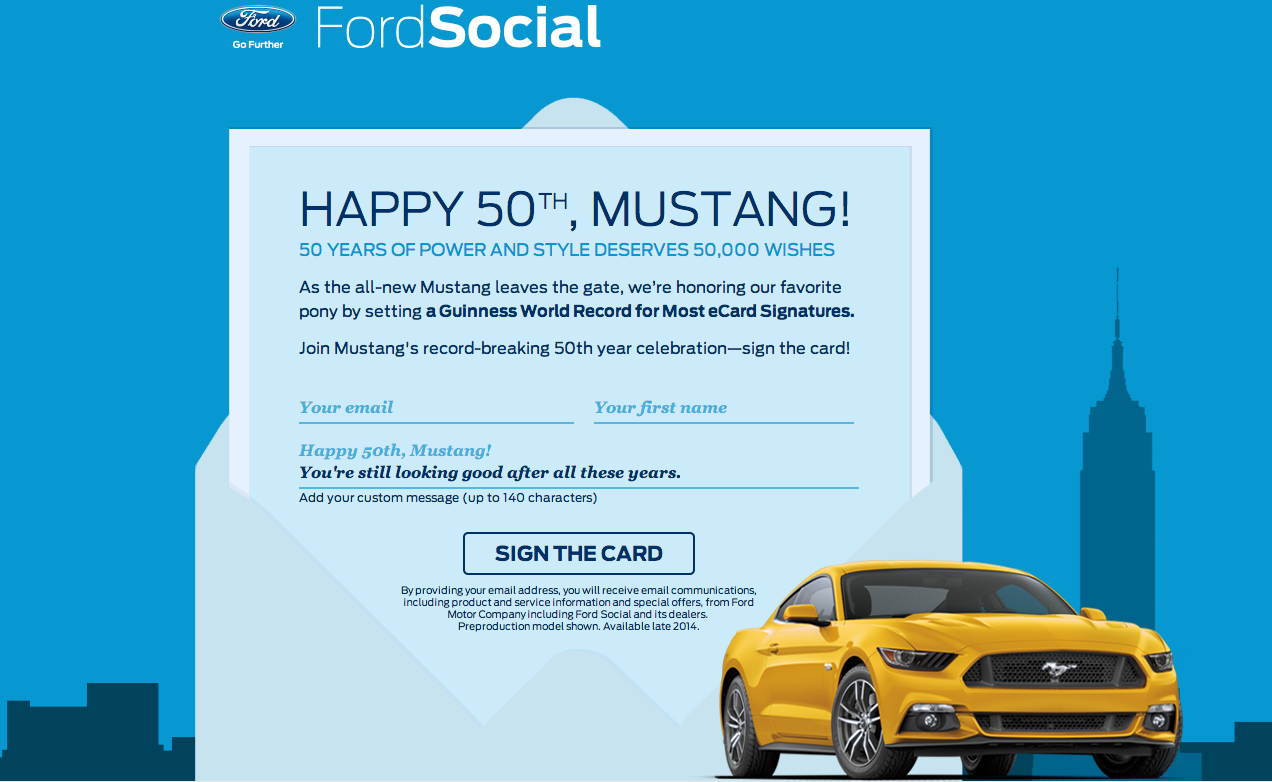 Help Ford Set World Record by Signing Mustang Birthday Card