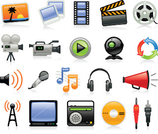 There are various representations of media lined up. The top two rows are pictures, movies, and film; the bottom two represent audio.