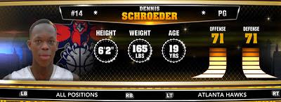 NBA 2K13 Hawks Dennis Schroeder - Round 1 17th Overall