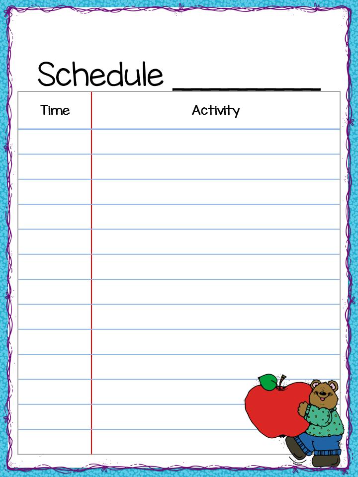 Class schedule freebie teacher by the beach for Preschool classroom schedule template