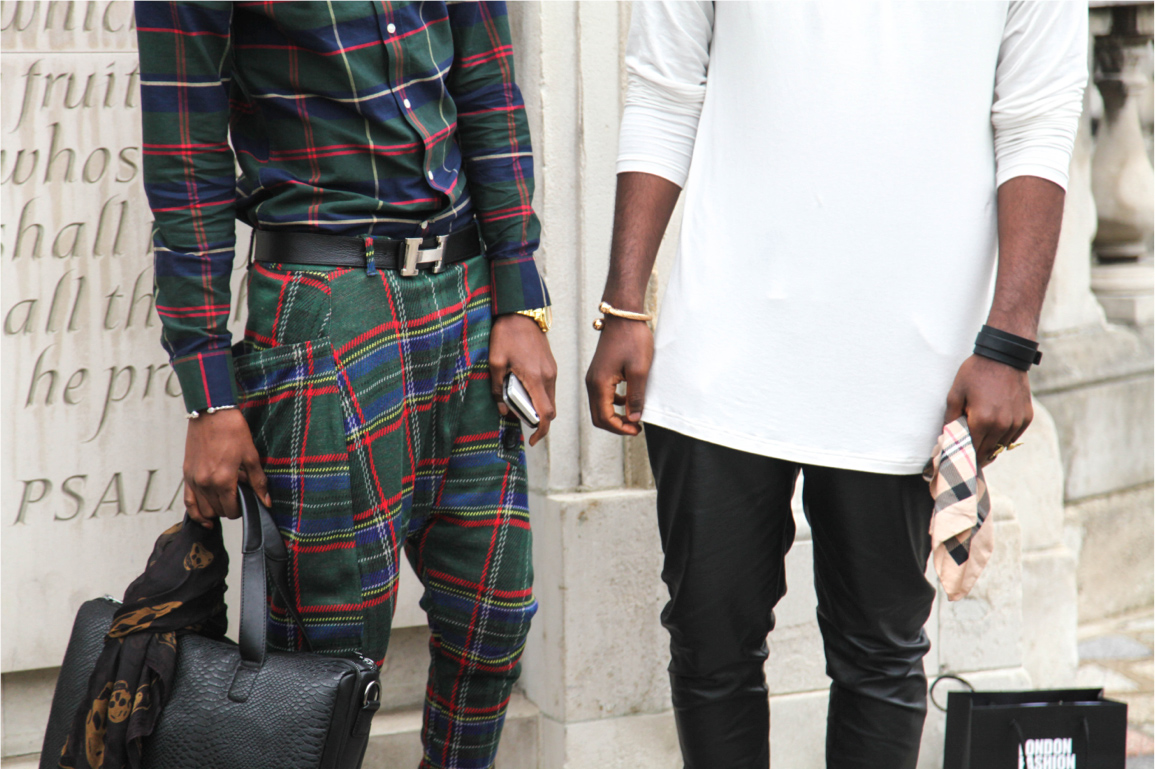 mens streetstyle tartan overalls and gold watch and bracelet