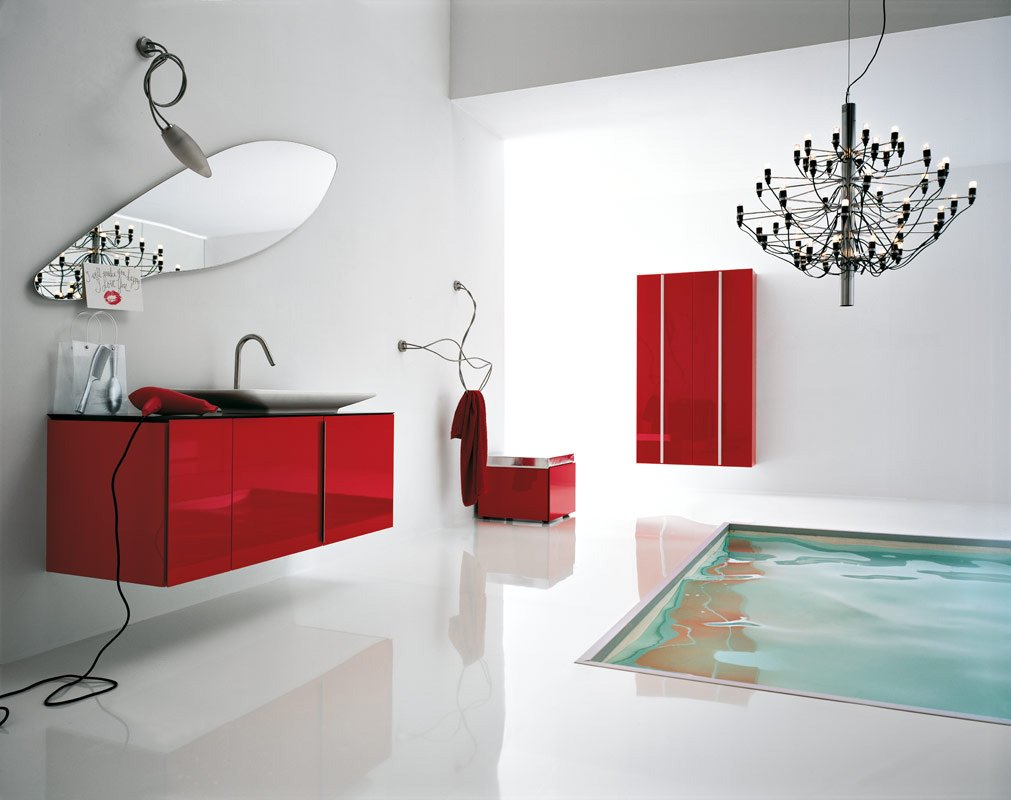 Home Wall Decoration Beautiful Red Bathroom Designs Ideas