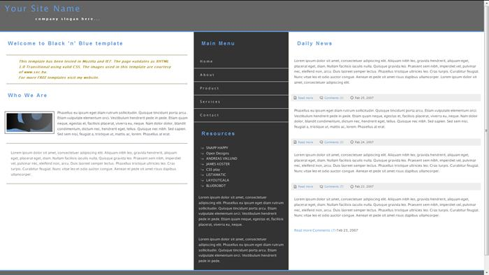 black-n-blue CSS Templates